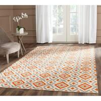Safavieh Hand-woven Dhurries Ivory/ Tangerine Wool Rug - 4' x 6'