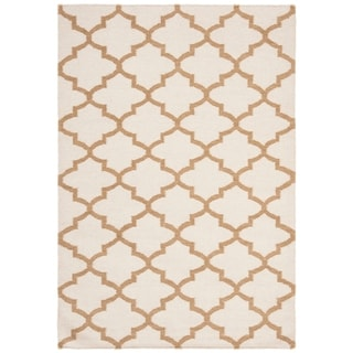 Safavieh Hand-woven Dhurries Ivory/ Gold Wool Rug (4' x 6')