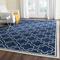 Safavieh Indoor/ Outdoor Amherst Navy/ Ivory Rug - 9' x 12'
