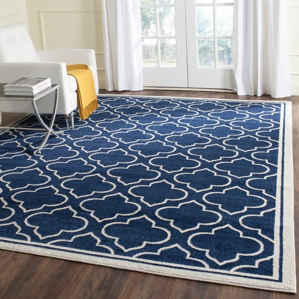 Blue Outdoor Rug 9x12: Safavieh Indoor/ Outdoor Amherst Navy/ Ivory Rug
