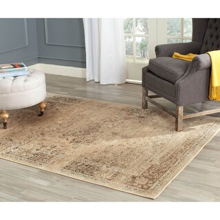 Safavieh Vintage Oriental Warm Beige Distressed Silky Viscose Rug (8' Square)