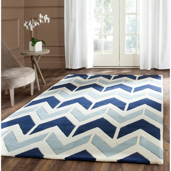 Safavieh Handmade Chatham Dark Blue/ Light Blue Wool Rug (4' x 6')
