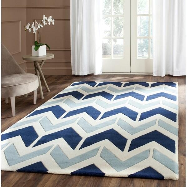 Safavieh Handmade Chatham Dark Blue/ Light Blue Wool Rug - 4' x 6'