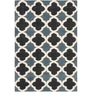 Safavieh Handmade Flatweave Dhurries Meryl Modern Wool Rug (4 x 6 - Blue/Navy)