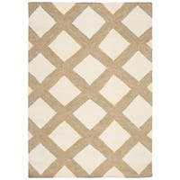 Safavieh Hand-woven Dhurries Ivory/ Gold Wool Rug - 4' x 6'