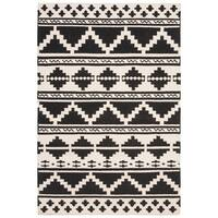 Safavieh Hand-woven Dhurries Navy/ Ivory Wool Rug - 4' x 6'