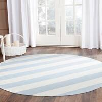 Safavieh Montauk Handmade Caspian Flatweave Sky Blue/ Ivory Stripe Cotton Rug - 6' x 6' Round