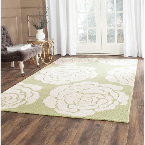 Safavieh Handmade Cambridge Lime/ Ivory Wool Rug (4' x 6')