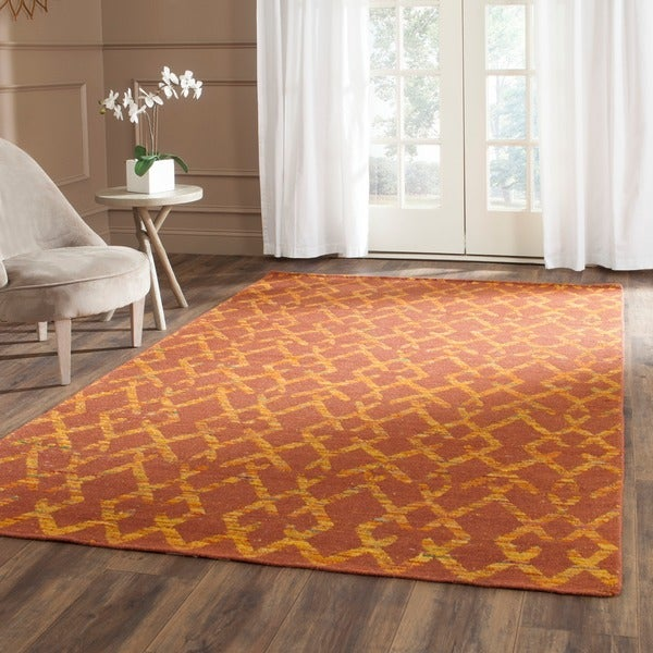 Safavieh Hand-Woven Straw Patch Rust/ Gold Wool/ Cotton Rug - 8' x 10'