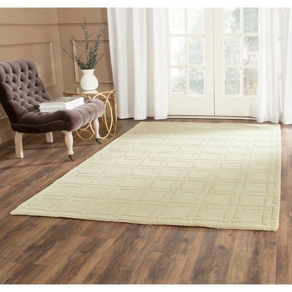 Safavieh Handmade Impressions Lime Wool Rug (7'6 x 9'6)