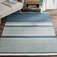 Safavieh Hand-Woven Kilim Blue/ Ivory Wool Rug - 8' x 10'