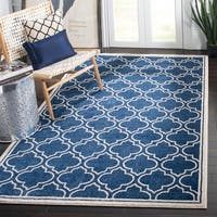 Safavieh Indoor/ Outdoor Amherst Navy/ Ivory Rug - 6' x 9'