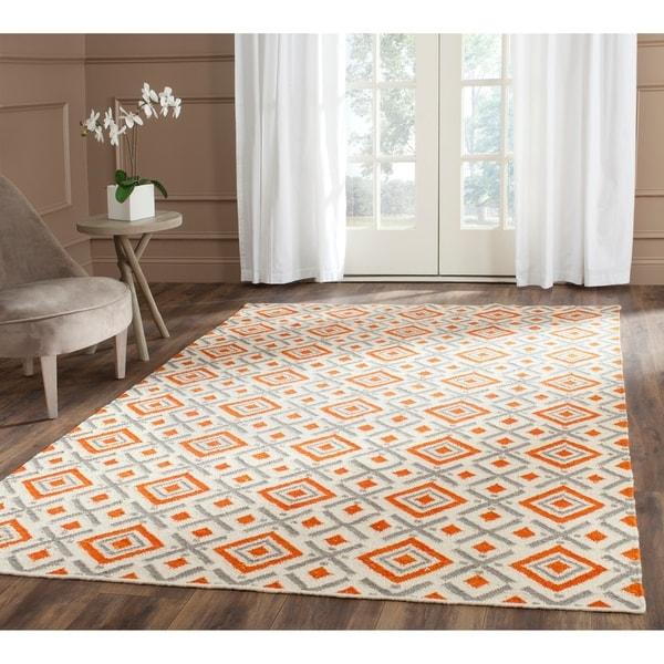 Safavieh Hand-woven Dhurries Ivory/ Tangerine Wool Rug - 8' x 10'