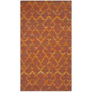 Safavieh Hand-Woven Straw Patch Rust/ Gold Wool/ Cotton Rug (3' x 5')