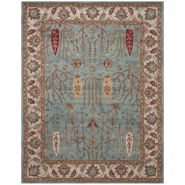 Safavieh Handmade Heritage Timeless Traditional Blue/ Ivory Wool Rug (7'6 x 9'6)