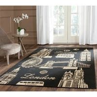Safavieh Indoor/ Outdoor Courtyard Black/ Beige Rug - 5'3 x 7'7