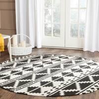 Safavieh Hand-woven Dhurries Black/ Ivory Wool Rug - 6' x 6' Round