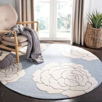 Safavieh Handmade Cambridge Blue/ Ivory Wool Rug - 6' Round