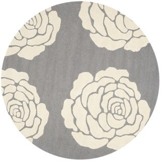 Safavieh Handmade Cambridge Dark Grey/ Ivory Wool Rug (6' Round)