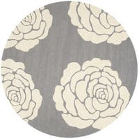 Safavieh Handmade Cambridge Dark Grey/ Ivory Wool Rug - 6' Round