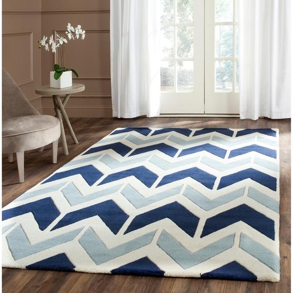 Safavieh Handmade Chatham Dark Blue/ Light Blue Wool Rug - 8' x 10'