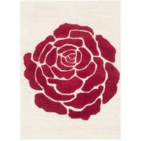 Safavieh Handmade Cambridge Ivory/ Red Wool Rug - 3' x 5'