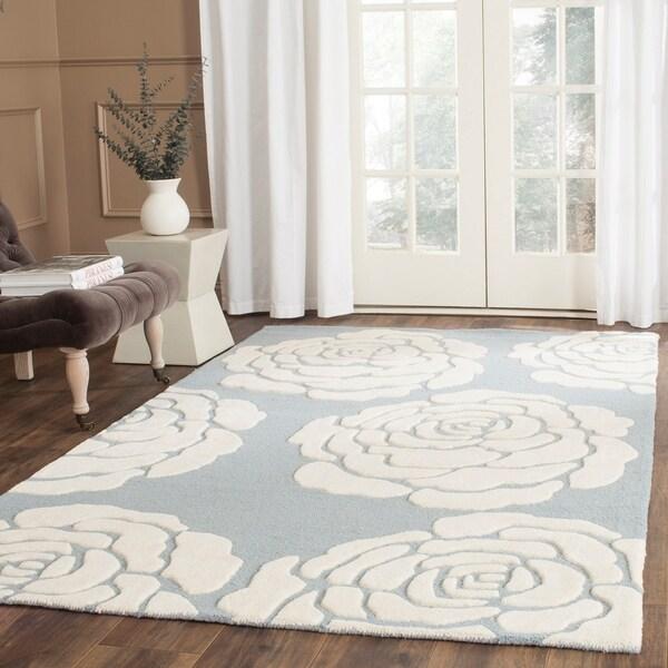 Safavieh Handmade Cambridge Blue/ Ivory Wool Rug - 8' x 10'