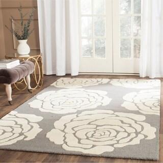Safavieh Handmade Cambridge Dark Grey/ Ivory Wool Rug (8' x 10')