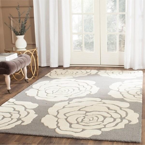 Safavieh Handmade Cambridge Dark Grey/ Ivory Wool Rug - 8' x 10'