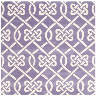 Safavieh Handmade Chatham Purple/ Ivory Wool Rug (5' Square)