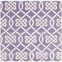 Safavieh Handmade Chatham Purple/ Ivory Wool Rug - 5' X 5' Square