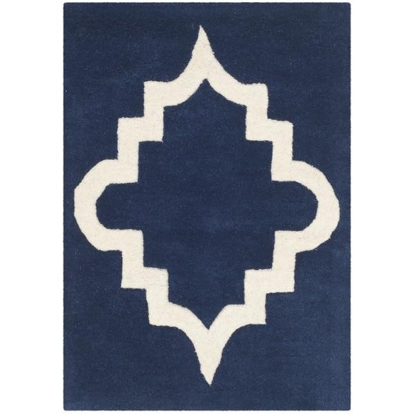 Safavieh Handmade Chatham Dark Blue/ Ivory Wool Rug (3' x 5')