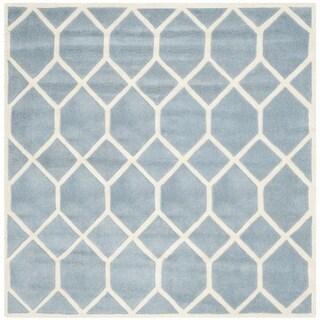 Safavieh Handmade Chatham Marjory Modern Wool Rug (5 x 5 Square - Blue/Ivory)
