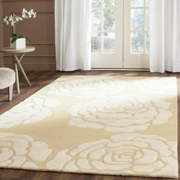 Safavieh Handmade Cambridge Light Gold/ Ivory Wool Rug - 8' x 10'