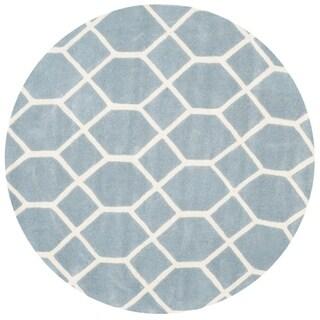 Safavieh Handmade Chatham Marjory Modern Wool Rug (5 x 5 Round - Blue/Ivory)