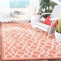 Safavieh Courtyard Geometric Poolside Terracotta/ Beige Indoor/ Outdoor Rug - 2'7 x 5'