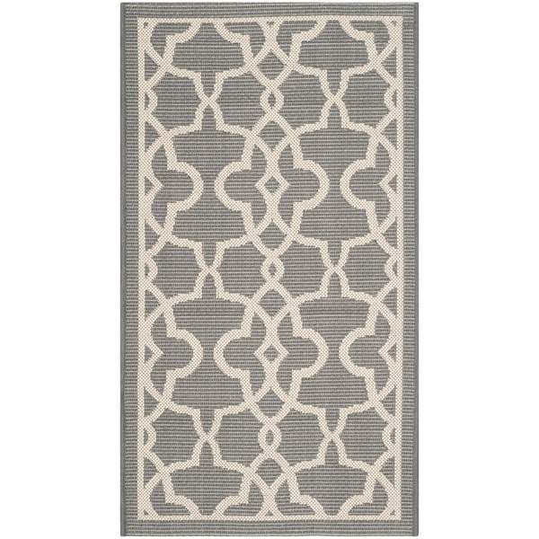 "Safavieh Courtyard Geometric Poolside Grey/ Beige Indoor/ Outdoor Rug - 2'7"" x 5'"
