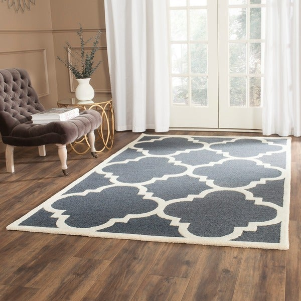 Safavieh Handmade Cambridge Dark Grey/ Ivory Wool Rug (8' x 10')