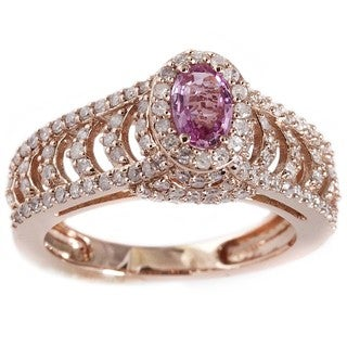 Beverly Hills Charm 14k Rose Gold 3/4ct TDW Diamond and Pink Sapphire Ring (H-I, I2-I3)