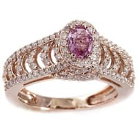 14k Rose Gold 3/4ct TDW Diamond and Pink Sapphire Ring (H-I, I2-I3)