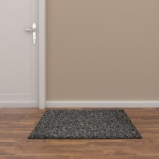 Somette Portside Shag Gray/ Black/ White Rug (3' x 5')
