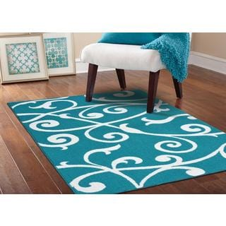 Somette Scroll Teal/ White Area Rug (5' x 7')