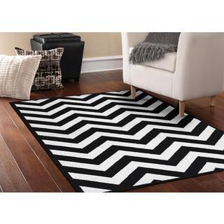Somette Zigzag Black/ White Area Rug (5' x 7')