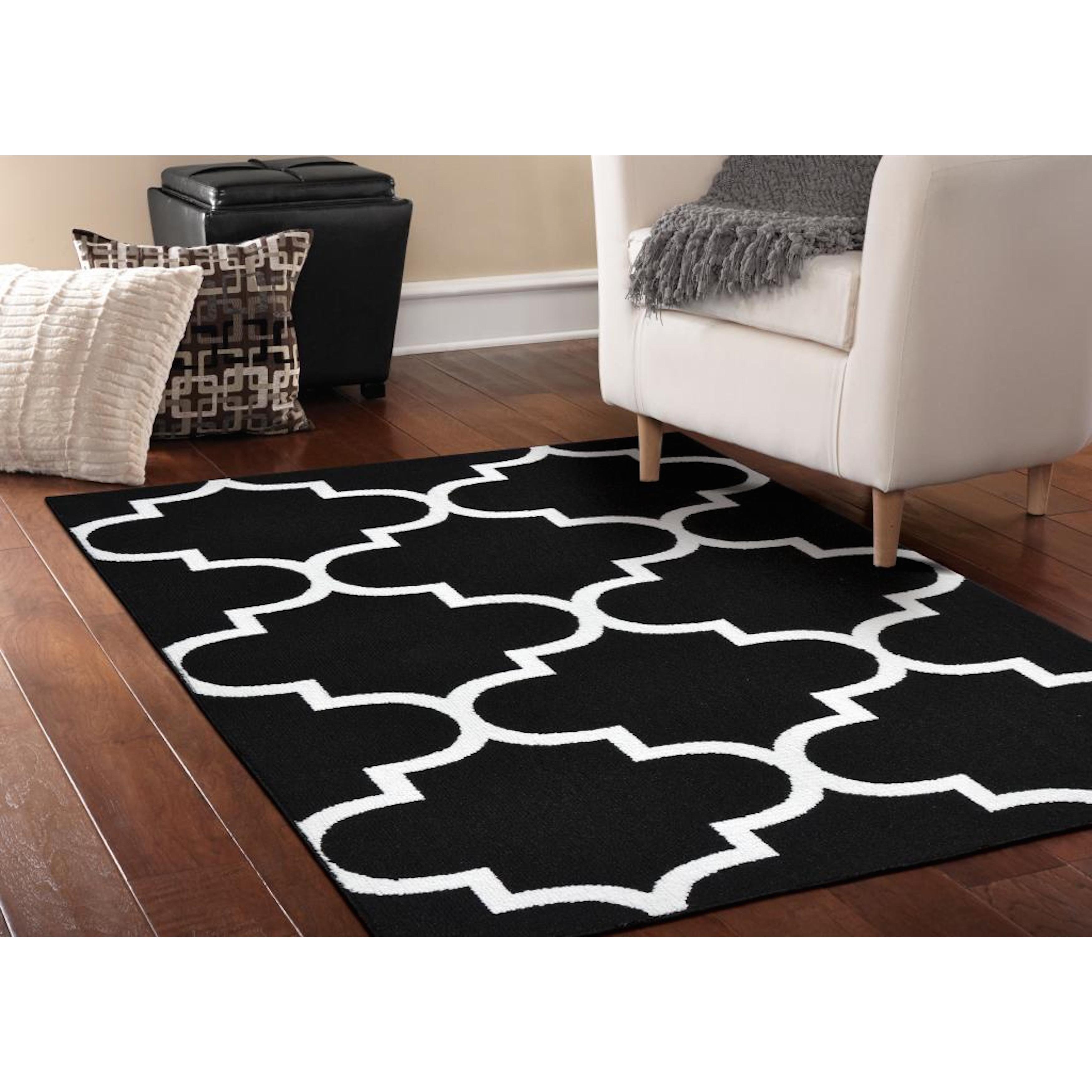 Somette Geometric Black White Area Rug