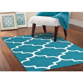 Somette Geometric Teal/ White Area Rug (5' x 7')