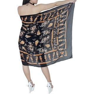 La Leela Lightweight Teri Voile Shell Fish Sarong Wrap Skirt 72X42 Inch Black