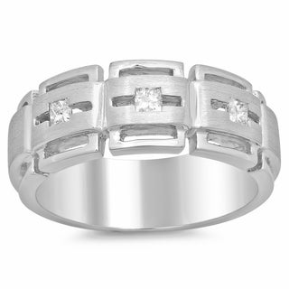 14k White Gold Men's 1/3ct TDW Diamond Ring (F-G, SI1-SI2)