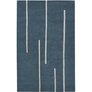 Hand-tufted Splendor 364 Blue/ Ivory Wool Rug (5' x 8')