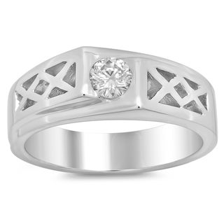 14k White Gold Men's 2/5ct TDW Diamond Ring (F-G, SI1-SI2)