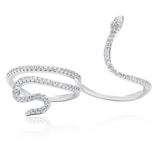 Blue Box Jewels Sterling Silver Snake Two Finger Ring